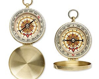 "Working Compass, Vintage Design, with Cover, Brass, 2.75""x2"", sold Individually, D951"