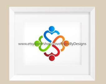 Clip Art to Print or Web,  People Four Heart Persons . Concept for a Children Nursery, Lovely People, Friendship,Teamwork, Social Network