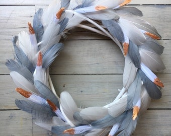 Grey and Copper Feather Wreath