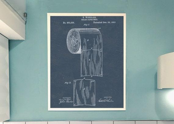 Vintage Bath Wall Decor : Antique patent bathroom wall art poster retro print