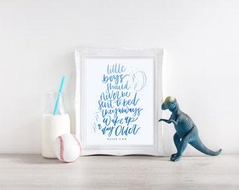 Little boys to bed nursery print// Peter Pan nursery quote// digital download