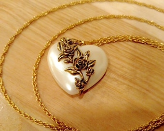 Heart Shaped Gold Tone Pendant Necklace with Flower Accent - Vintage