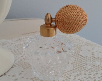 Vintage Glass Perfume Bottle with Atomizer Metal Gold Top