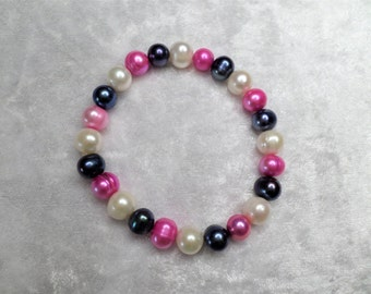 Bead Bracelet freshwater pearls of multicolor, cream, purple, pink