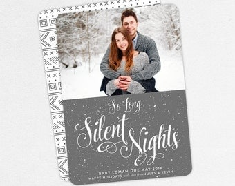 24 HOUR TURNAROUND, So Long Silent Nights Christmas Card, Christmas Baby Announcement Card, Holiday Pregnancy Card, Christmas Pregnancy Card