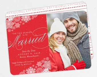 Snowflake Save the Dates, Holiday Save the Dates, Christmas Save the Dates, Tis the Season to be Married Christmas Cards, Save the Date Card