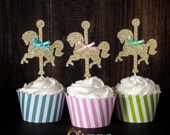 12 Carousel Cupcake toppers, horse cupcake toppers, horse party, merry go around