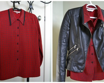 HOUNDSTOOTH BLOOD RED Button-up Collared Shirt
