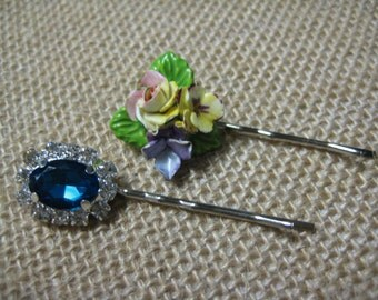 Hair Pins, Teal, Rhinestones, Vintage Porcelain, Porcelain Flower, Formal, Glam, Wedding, Bridesmaids {hp114}