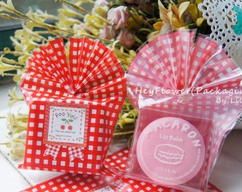 100pcs red checked cookie biscuit packaging bag, wedding favor bag, plastic package,gift wrapping,cellophane bag