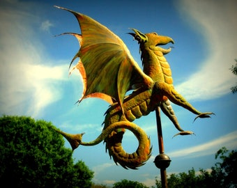 Dragon Weathervane, Custom Copper Weathervane, Garden Art, Fantasy, Mythical, Gothic, Dragon Sculpture, Copper Art, Coppersmith Art, Dragons