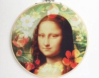 Monalisa Wall Art, Monalisa Home Decor, Monalisa Art, Round Wall Decor, Hoop Art, Hoop Wall Decor, Hoop Frame Art, Canvas Wall Art, Wall Art
