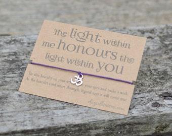 Namaste Wish Bracelet, Make a Wish Bracelet, Yoga Bracelet, OM, Cord Bracelet and Gift Card.