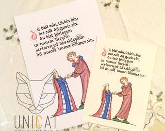 card / poster mediaeval illustration with calligraphy printable