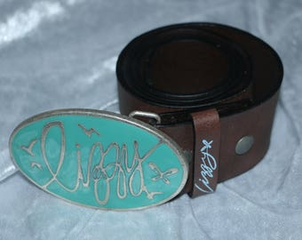 "70's LIZZY - 32"" - 36"" - Thick Leather Belt With Chunky Buckle"