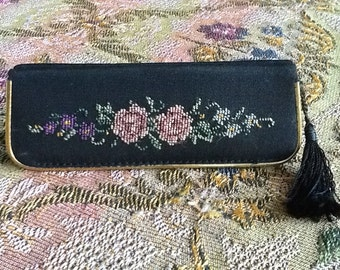 Vintage Petit Point Comb and Mirror