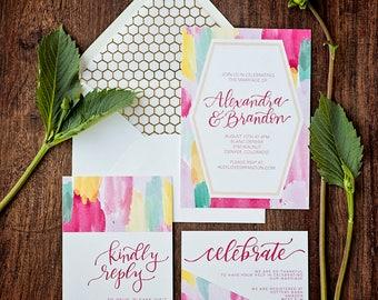 DEPOSIT ONLY // Custom Watercolor Geometric Invitation Suite // Calligraphy // Hand-lettered // Custom Invite