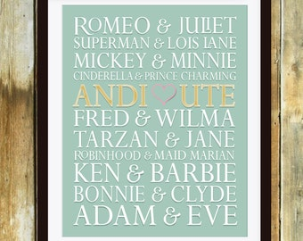 Wedding Reception Famous Couples Sign,Anniversary Gift Personalize Famous Couples Wood Sign Anniversary Custom