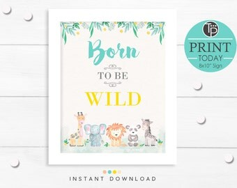 JUNGLE ANIMAL Wall Art, Instant Download Printable Art, Jungle Wall Art, Born to be Wild Print, Digital Art, Jungle Animal Printable