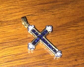 Gold, Sapphire and Diamond Crucifix/Cross