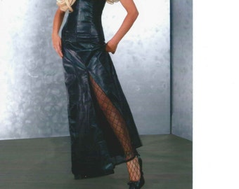 Custom made Steel boned lambskin corset dress evening gown tight lacing erotic body con fetish club wear couture dom