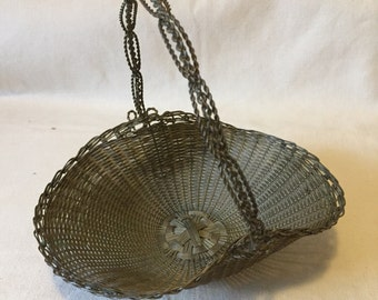 Antique Wire Christmas Sweetmeats Basket
