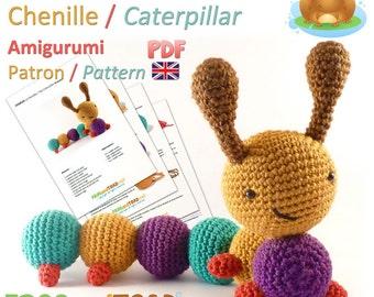 Caterpillar - Amigurumi Crochet PDF Pattern - BRITISH Terminology