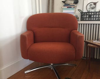 Mid Century Modern Orange Swivel Chair