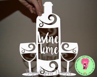 Wine paper cut svg / dxf / eps files and pdf / png printable templates for hand cutting. Digital download. Small commercial use ok