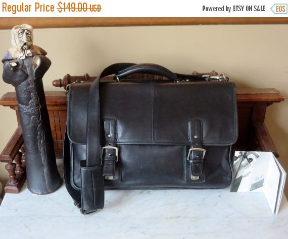 Football Days Sale Coach Full Flap Thompson Black Leather Multi Gusseted Briefcase Attache Laptop IPad Case- VGC