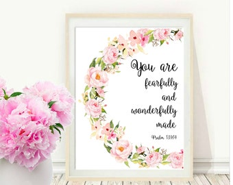 You Are Fearfully And Wonderfully Made, Nursery Print, Printable Art, Psalm Prints, Scripture Print, Inspirational Quote,  Wall decor,