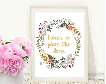 Theres No Place Like Home, Housewarming gift, Entryway Art, Printable Art, Wall Art, Instant Download, Wall  decor