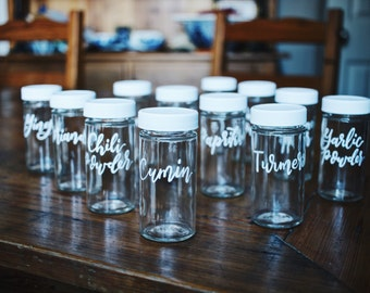 Hand Lettered Calligraphy Spice Jar Storage Containers (Set of 12)