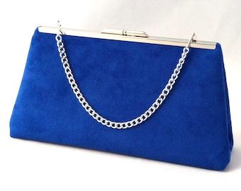 Royal Blue Suede Handbag Clutch Purse ~ Royal Blue Suede Evening Purse