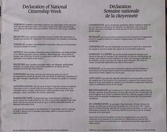 Copy of Declaration Of National Citizen Week, April 1987