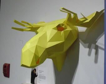 Paper Moose Wall Sculpture