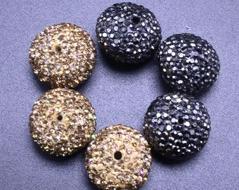 3 Wholesale Gold And Balck Beads - Black Rhinestone Faceted Beads For Bracelet Gold CZ Beads Pave Necklace Charms Jewelry Making Rondelle