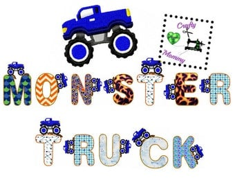 Monster Truck Applique - Monster Truck Embroidery - Embroidery Design - Applique Design - Truck Font - Boys Embroidery File - Applique Font