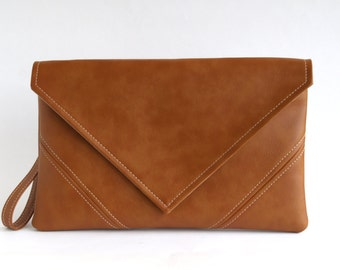 Brown Clutch Bag Casual Clutch Purse Vegan Leather Clutch Gift For Her Bridesmaid Clutch Vegan Bag Brown Handbag Evening Bag Vegan Purse