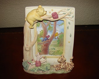 WINNIE the POOH, Disney, Picture Frame, Three Dimensional , 3D, Hand Painted, Vintage Nursery Décor, Child's Room, Baby's Room, Charpente