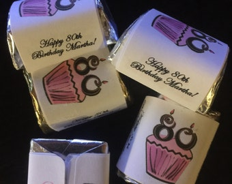 80th Theme Birthday Party Hershey Mini Nugget Labels candy wrappers cupcake