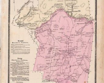 Erving and Wendell, Massachusetts 1871 Map original from Beers Atlas - in good shape B23