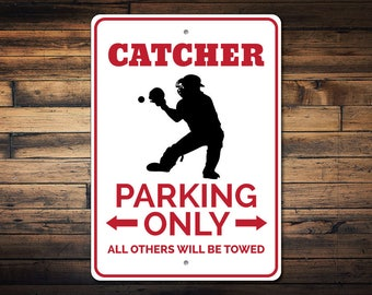 baseball bedroom decor. Catcher Parking Sign  Gift Decor Baseball Lover room decor Etsy