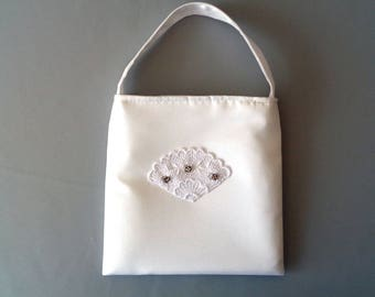White Satin Purse, First Communion Purse, Flower Girl Purse, Girls Purse with Rhinestones, Brides Money Bag, Brides Purse, Prom Purse