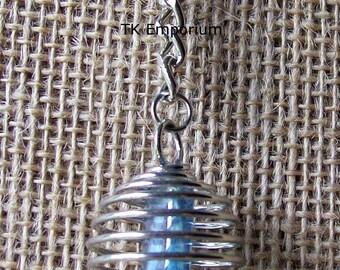 Aqua Aura Crystal in Silver Plated Spiral Keyring Key Chain Keychain
