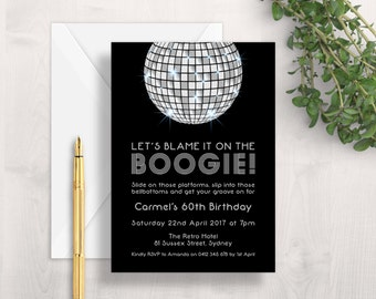 Disco 1970s Invitations | 'Let's Blame it on the Boogie!' | Gold, Silver, Black, Birthday, Hens, Bachelorette, 70s, Retro