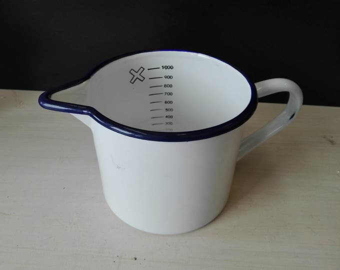 White enamel measuring cup