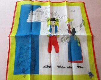 Vintage Switzerland Swiss Souvenir Hanky Handkerchief  Folk Costumes All Cotton