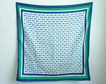 mermaid scarf, princess cruises scarf, square scarf, nautical scarf, blue green white, 70s scarf, 1970s scarf, ascot, mad men
