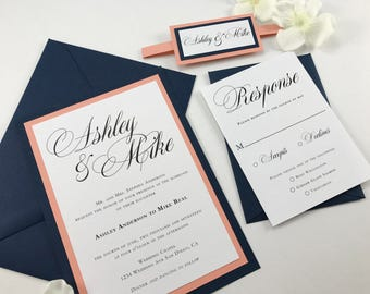 Exceptional Beautiful Navy And Coral Wedding Invitation Set, Dark Blue And Peach Wedding  Invites, Complete
